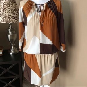 👗NY & Co Color Block Crinkle Cut Lined Dress